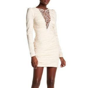 FreePeople Embellished V-Neck Ruched Bodycon Dress